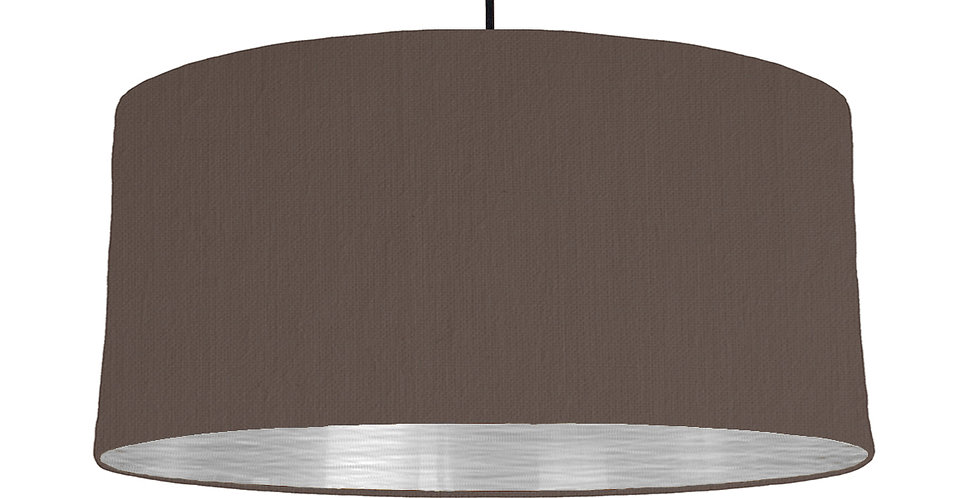 Brown & Brushed Silver Lampshade - 60cm Wide