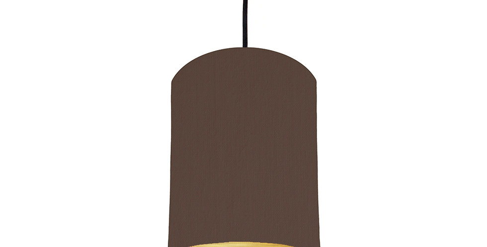 Brown & Brushed Gold Lampshade - 15cm Wide