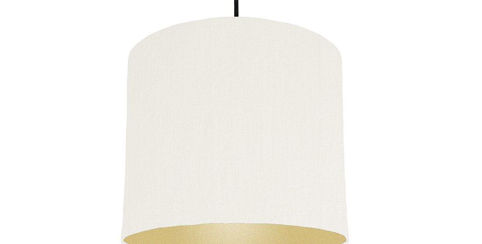 White & Gold Matt Lampshade - 25cm Wide