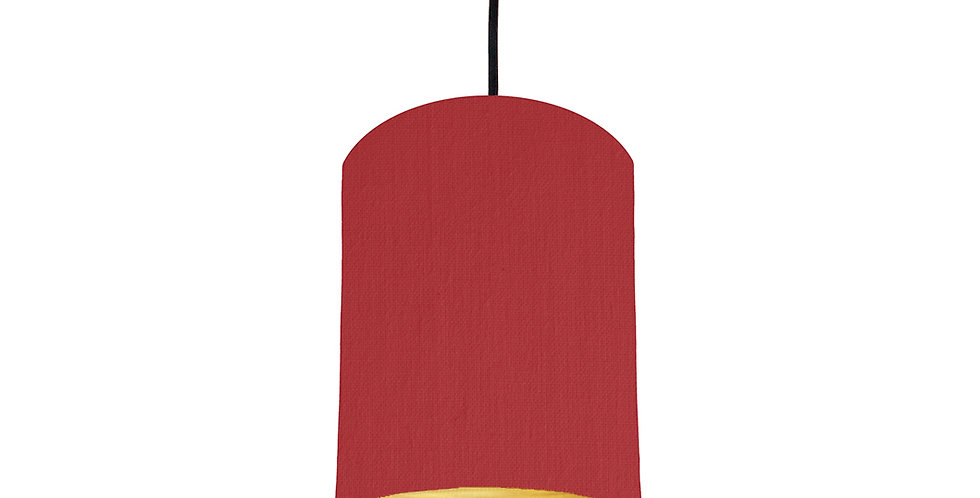 Red & Brushed Gold Lampshade - 15cm Wide