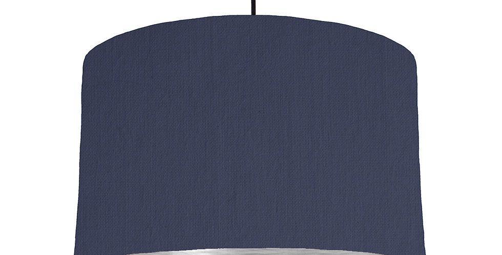 Navy Blue & Brushed Silver Lampshade - 40cm Wide