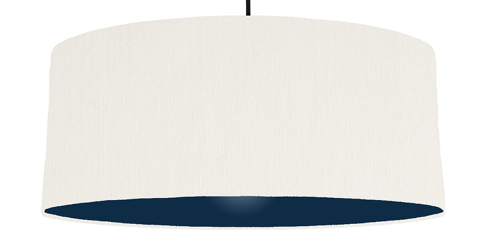 White & Navy Lampshade - 70cm Wide