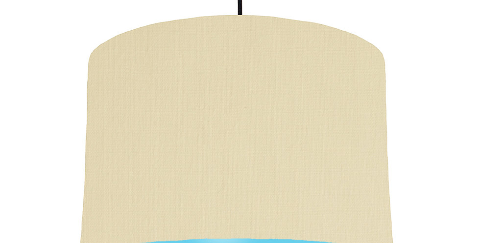 Natural & Light Blue Lampshade - 30cm Wide