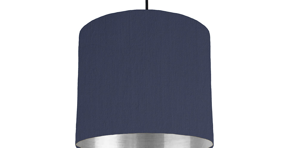 Navy & Silver Mirrored Lampshade - 25cm Wide