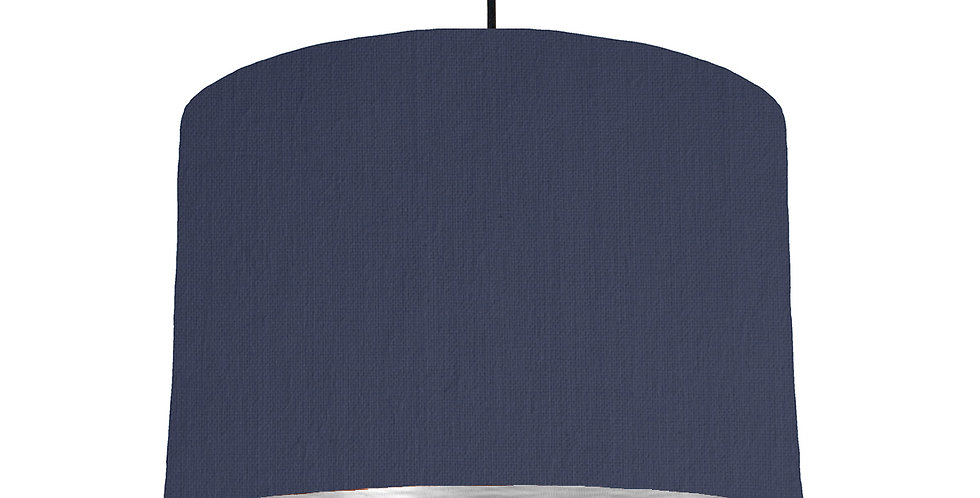 Navy & Brushed Silver Lampshade - 30cm Wide