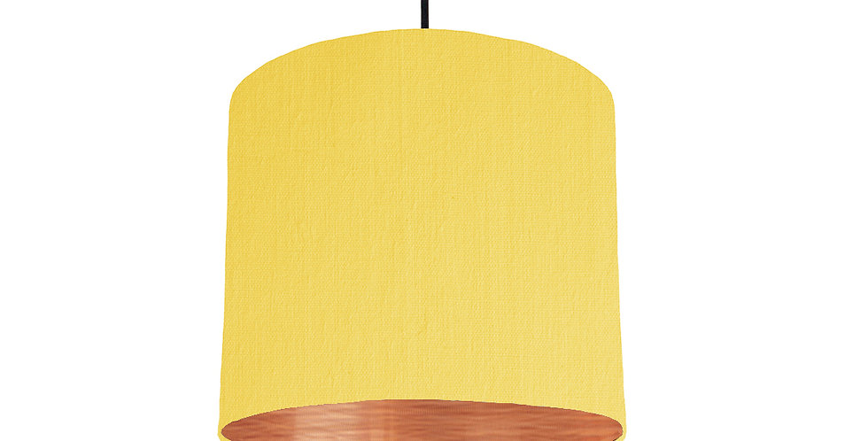 Lemon Yellow & Brushed Copper Lampshade - 25cm Wide