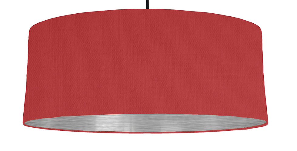 Red & Brushed Silver Lampshade - 70cm Wide