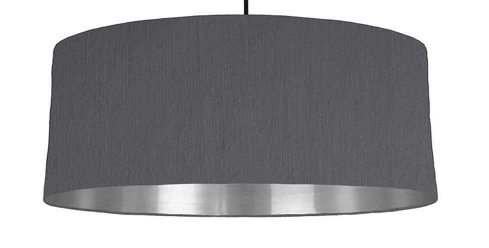 Dark Grey & Silver Mirrored Lampshade - 70cm Wide