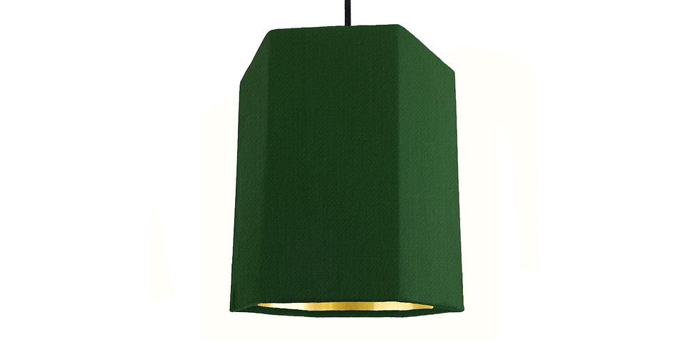 Bottle Green & Gold Mirror Hexagon Lampshade - 15cm Wide