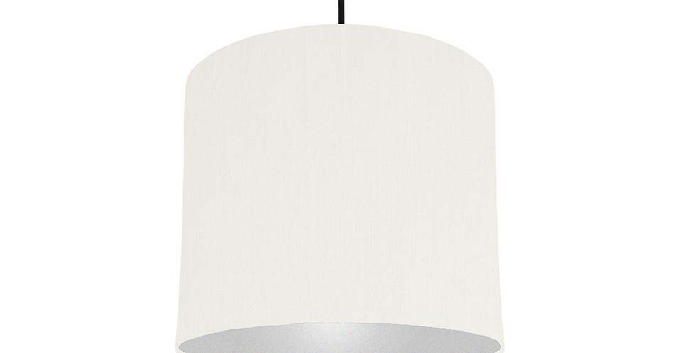 White & Silver Lampshade - 25cm Wide