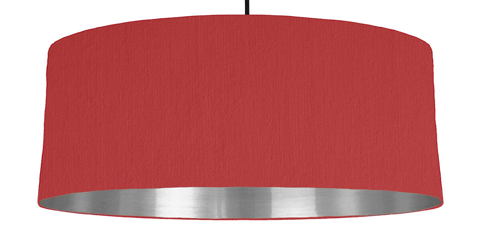 Red & Silver Mirrored Lampshade - 70cm Wide