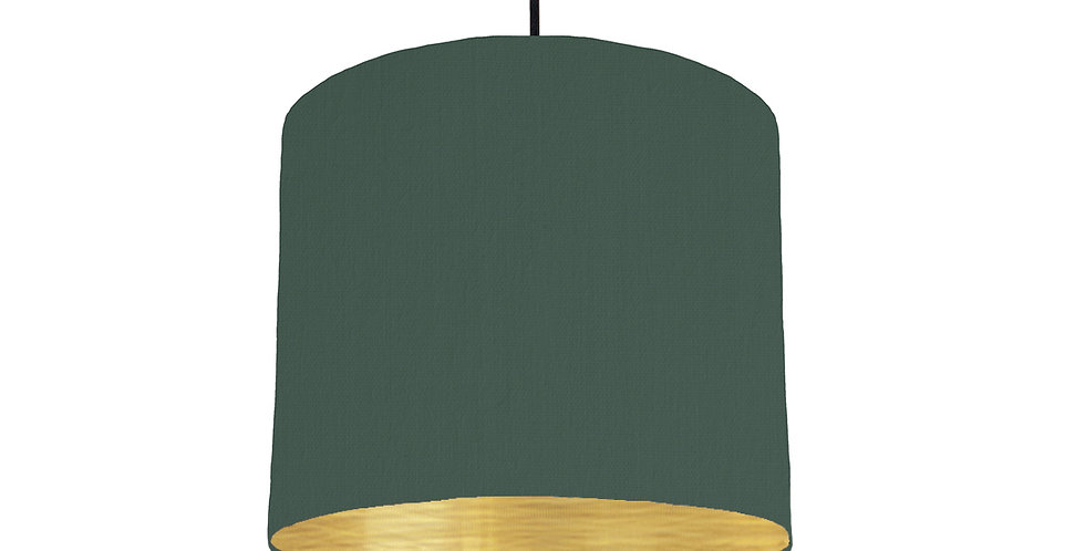 Bottle Green & Brushed Gold Lampshade - 25cm Wide