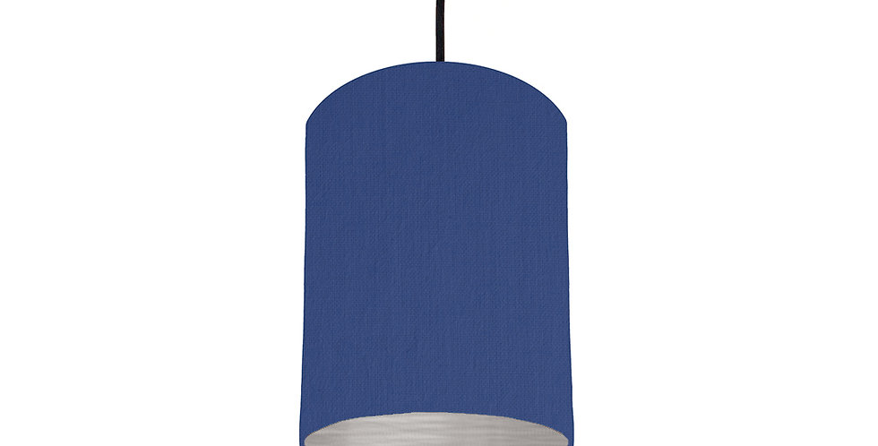 Royal Blue & Brushed Silver Lampshade - 15cm Wide