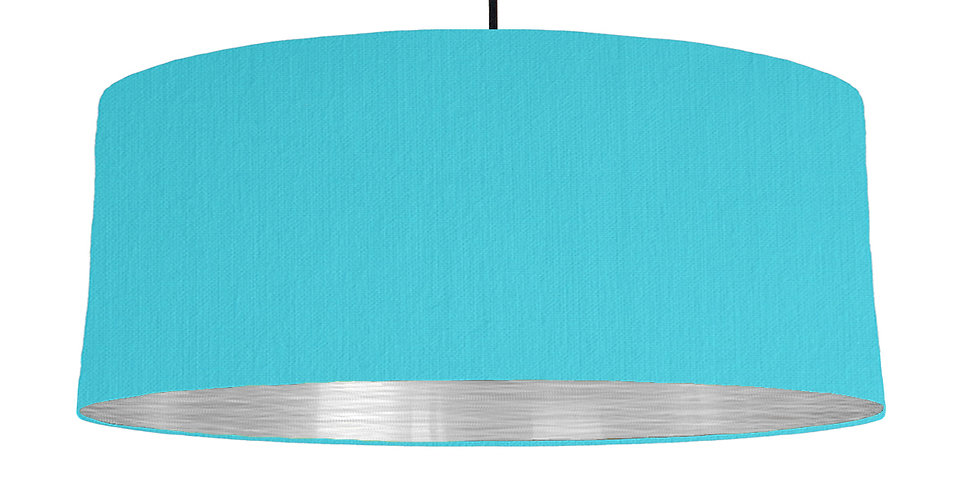 Turquoise & Brushed Silver Lampshade - 70cm Wide