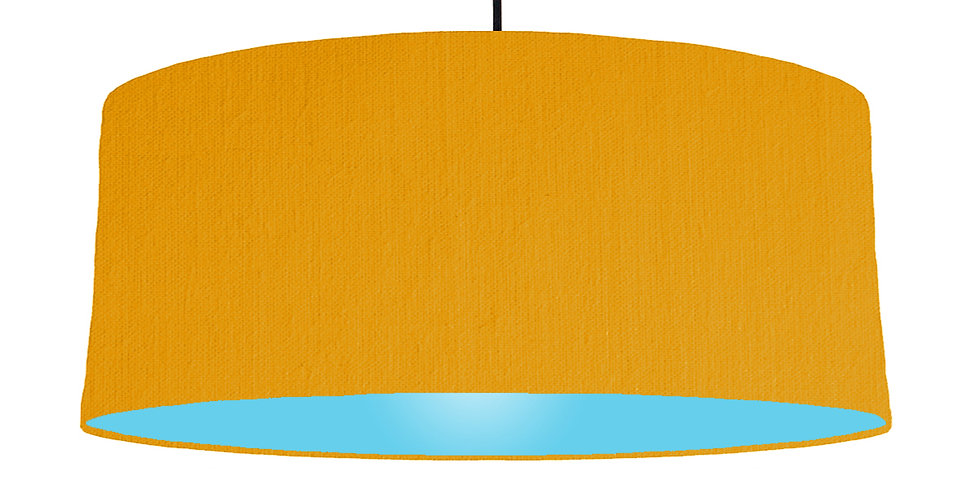 Mustard & Light Blue Lampshade - 70cm Wide