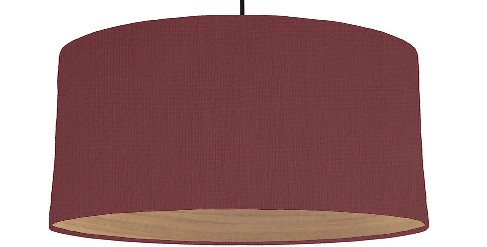 Wine Red & Wooden Lined Lampshade - 60cm Wide