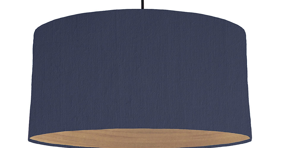 Navy & Wooden Lined Lampshade - 60cm Wide