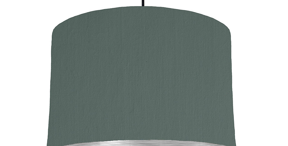 Bottle Green & Brushed Silver Lampshade - 30cm Wide