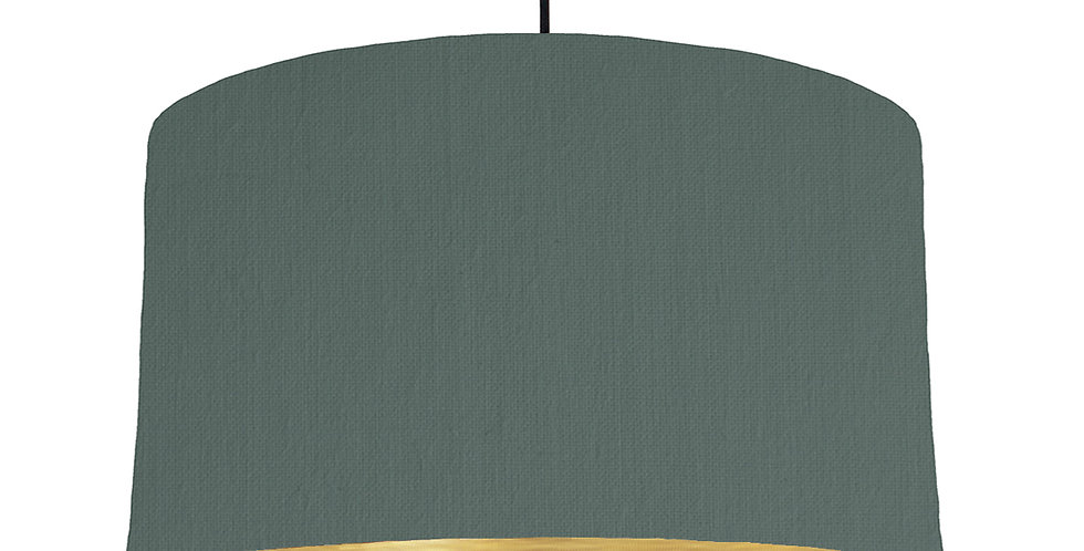 Bottle Green & Brushed Gold Lampshade - 50cm Wide