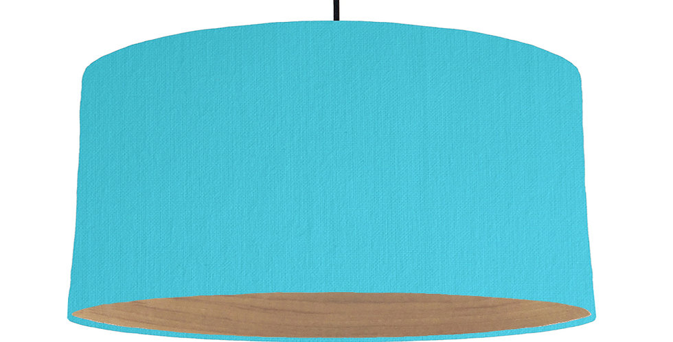 Turquoise & Wooden Lined Lampshade - 60cm Wide