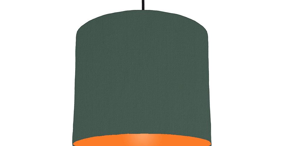 Bottle Green & Orange Lampshade - 25cm Wide