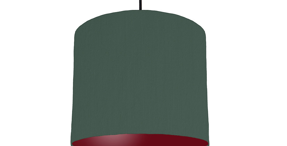 Bottle Green & Burgundy Lampshade - 25cm Wide