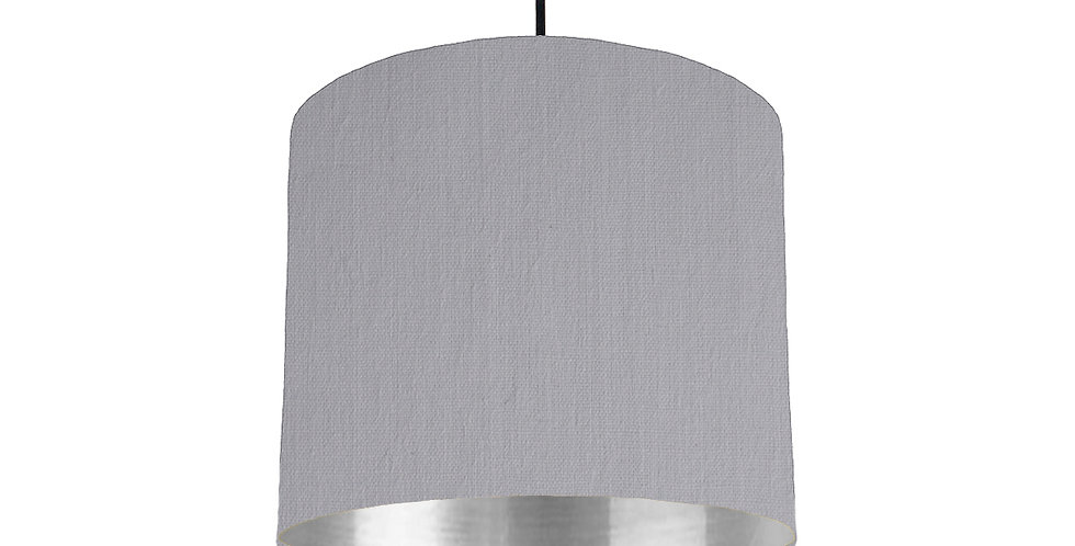 Light Grey & Silver Mirrored Lampshade - 25cm Wide