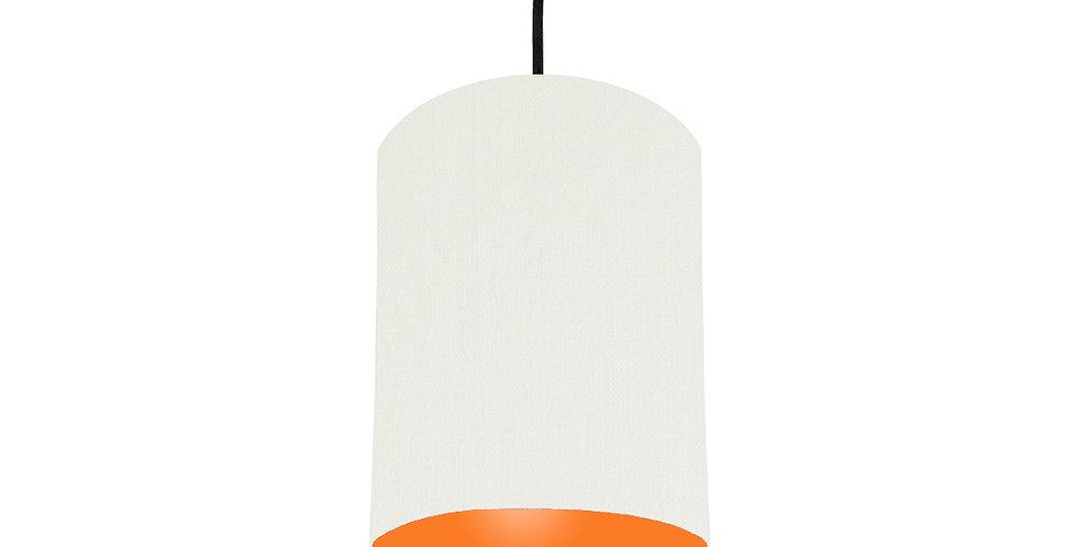 White & Orange Lampshade - 15cm Wide