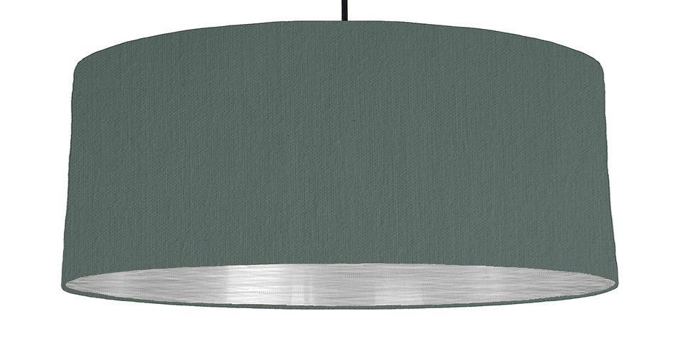 Bottle Green & Brushed Silver Lampshade - 70cm Wide