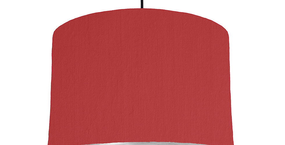 Red & Brushed Silver Lampshade - 30cm Wide