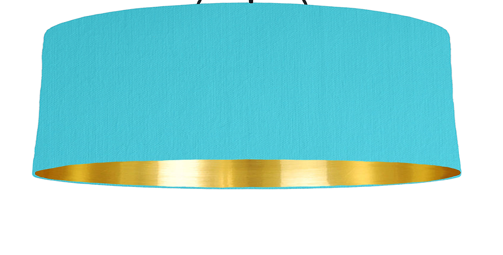 Turquoise & Gold Mirrored Lampshade - 100cm Wide