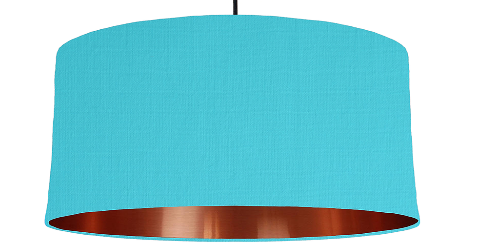 Turquoise & Copper Mirrored Lampshade - 60cm Wide