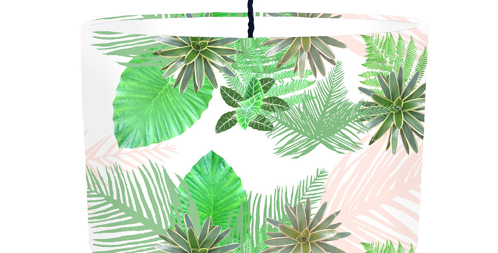Digital Tropical plant Lampshade (White) - White Lining