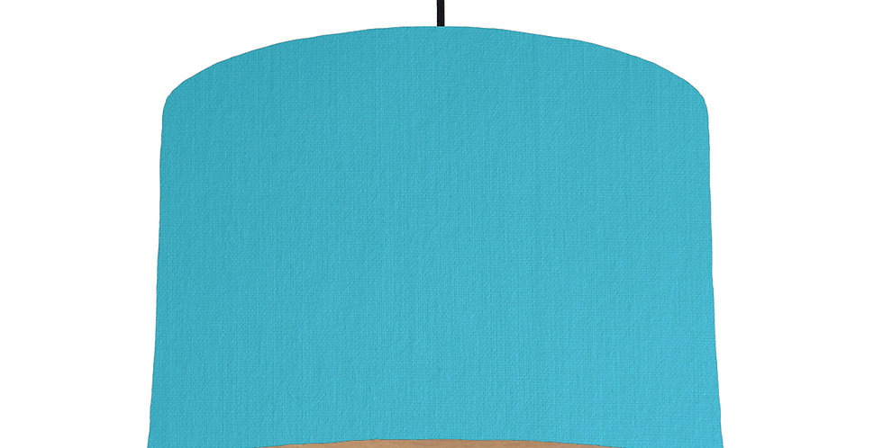 Turquoise & Wood Lined Lampshade - 30cm Wide