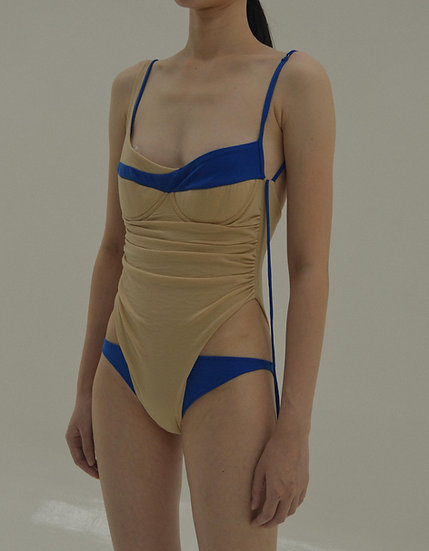 CAFA Jersey Bodysuit ( Nude / Hue Blue) without gloves