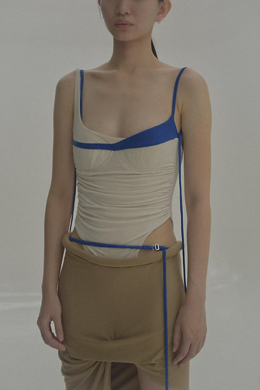 CAFA Jersey Bodysuit (Off- white / Hue Blue) without gloves