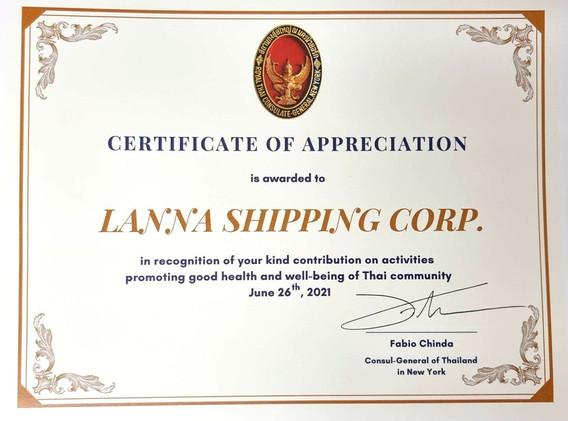 Certificate of Appreciation Lanna