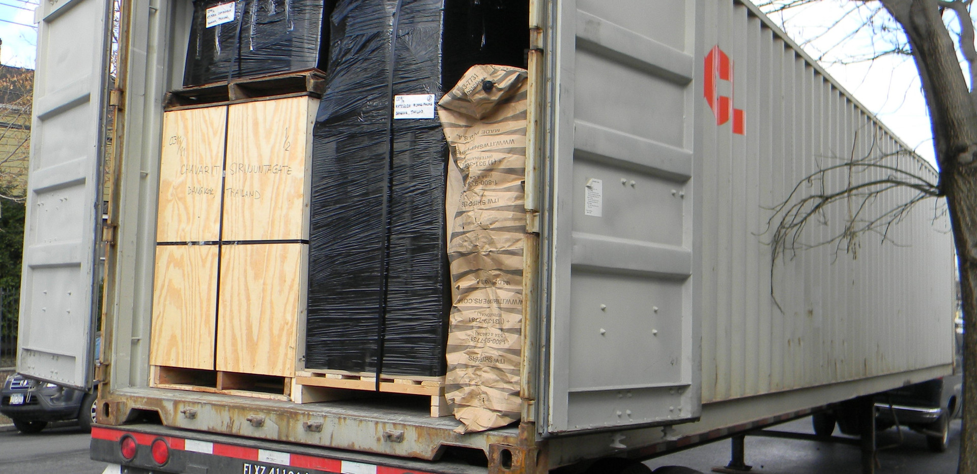 FULL loaded cargo in front of our warehouse in New York