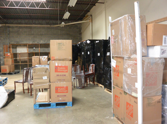 Inside our warehouse. This is how we make pallets for customers that want to ship more  and this way the price will be cheaper than sending one or two boxes. Please call us for consulting. We can ship half or full pallets for you.