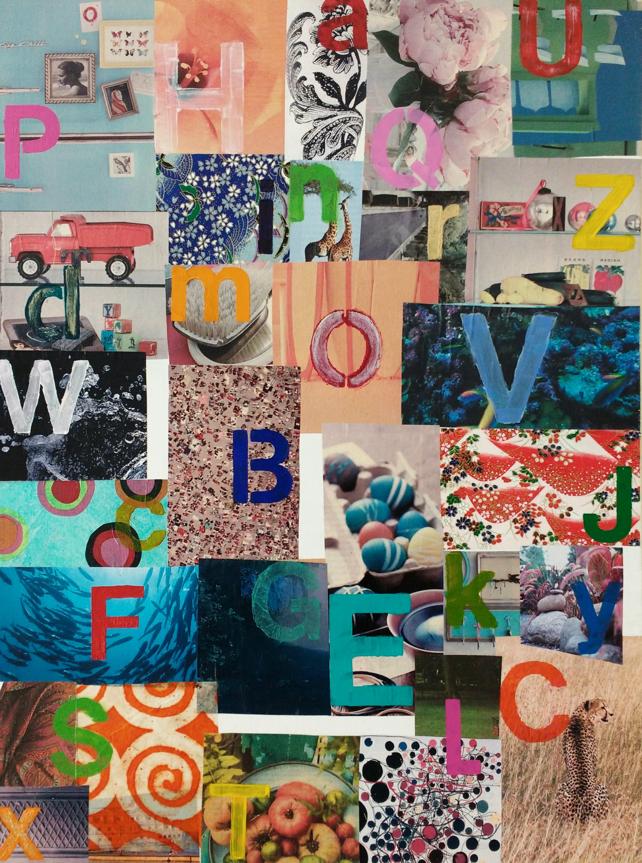 Alphabet collage for N