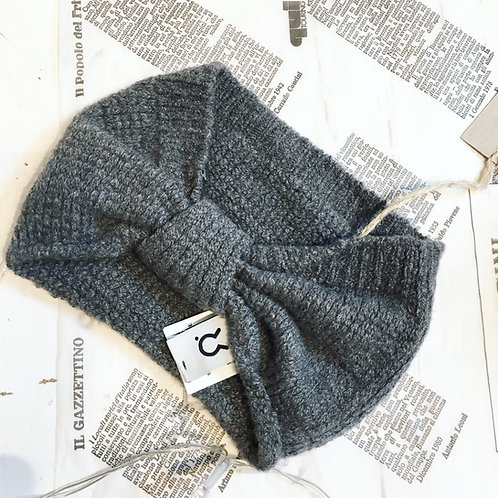 Recycled Cashmere Headband in Grey