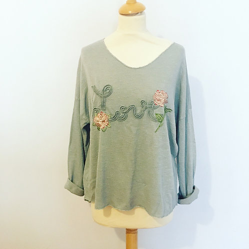 Love embroidered top