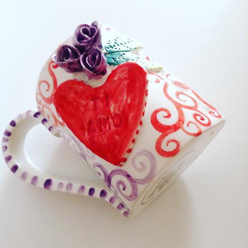Handmade in Italy Flowers Ceramic Mug