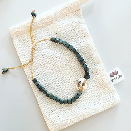 Leticia Mini Square Tagua Bracelet - Green