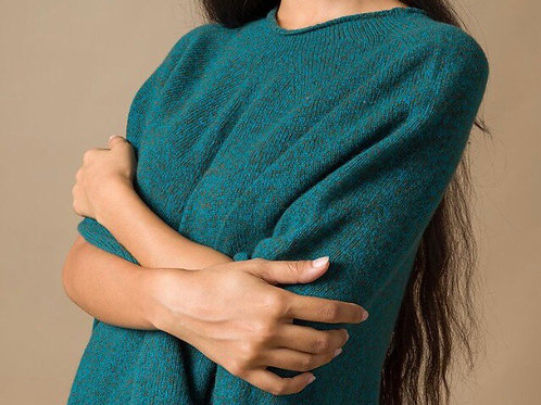 Sophia Recycled Cashmere Poncho in Mouline Begonia