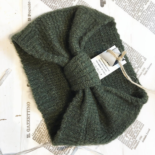 Recycled Cashmere Headband in Moss Green