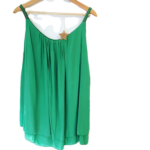 Italian Green and Gold Layered Top