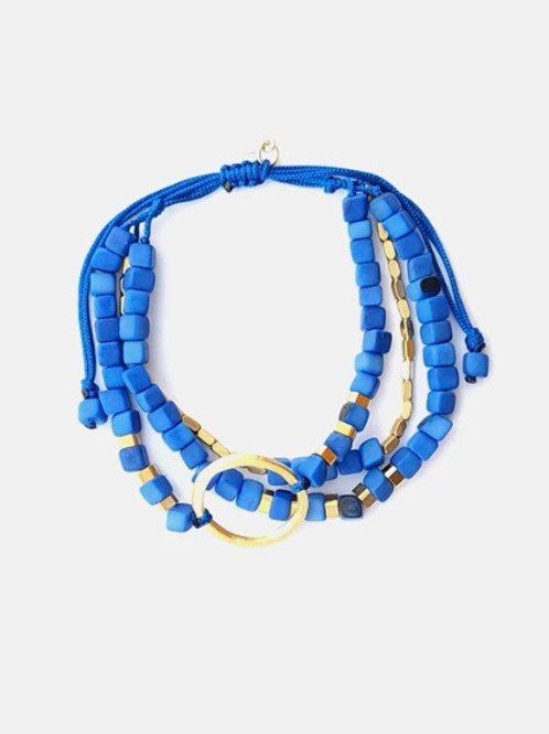 Leticia Cobalt Blue and Brass Bracelet