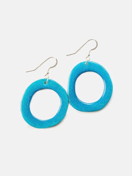 Tagua Nut Loop Earrings in Blue