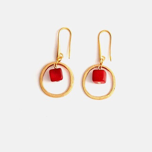Leticia Tagua and Brass Hoop Earrings in Red